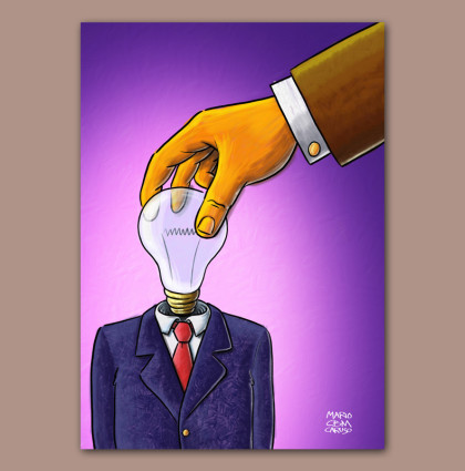 Illustrazione digitale concept uomo-lampadina